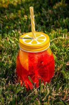 High angle view a glass of fruit juice on grass. vertical