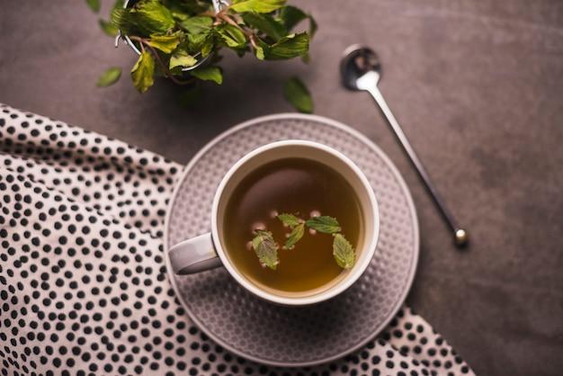 High angle view of herbal tea on table