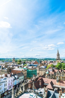 High angle view of high street of oxford city, uk