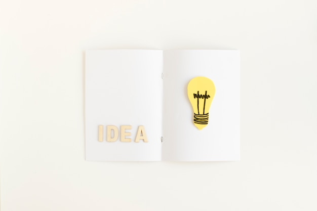 High angle view of idea text and light bulb on card