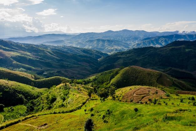 ハイアングルの山脈と道路の道