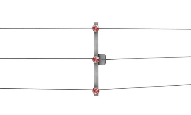 흰색 배경에 3d 렌더링된 전봇대의 높은 각도 보기