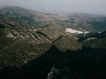 山の風景の高いアングルビュー