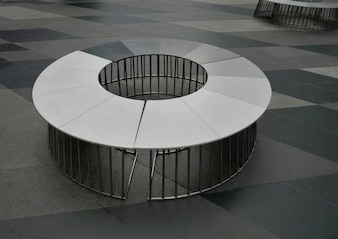 High Angle View of Circular Seat with Welded Steel Tubes Support