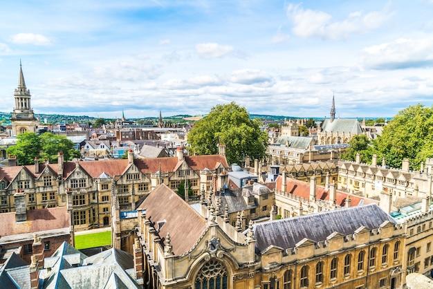 옥스포드 시티, 영국의 하이 스트리트의 높은 각도보기.