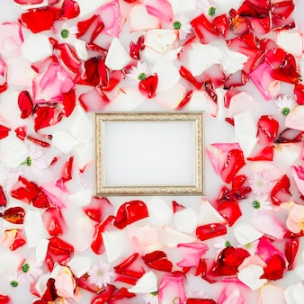 High angle view of picture frame and flower petals floating on milk