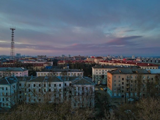 가을 벨로루시 민스크 건물의 높은 각도 보기