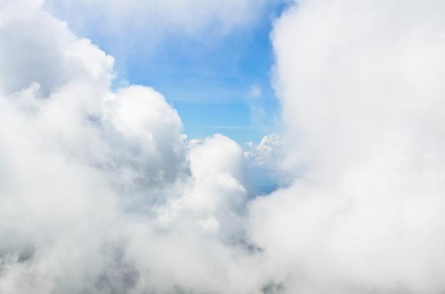 Высокий угол обзора неба в окружении облаков.