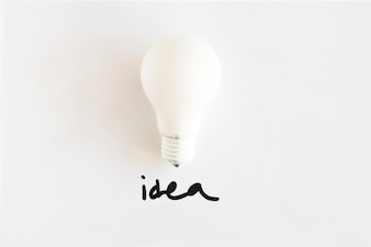 High angle view of white bulb with idea word