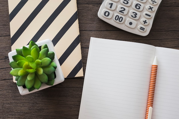 High angle view of pen; notebook; calculator and potted plant on wooden background
