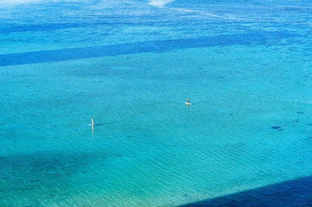 High angle view of people surfing in the pure blue ocean