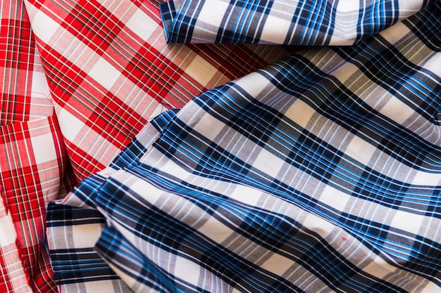 High angle view of red and blue chequered pattern fabric