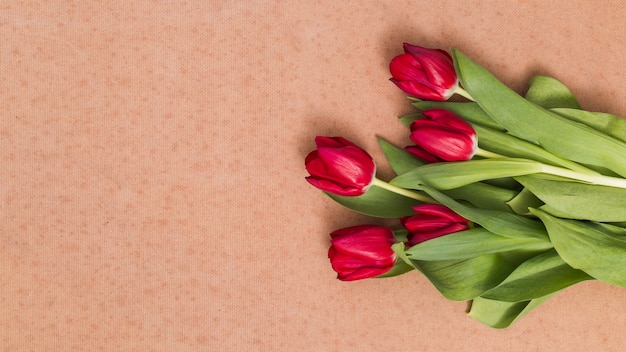 High angle view of red tulip flowers on brown textured background