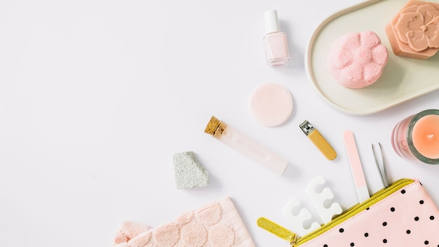 High angle view of spa products on white backdrop