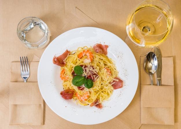 High angle view of spaghetti pasta