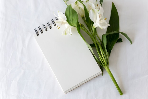 High angle view of spiral notepad with white lilies flower over white backdrop
