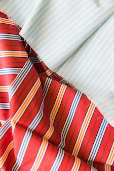High angle view of stripes cotton garment