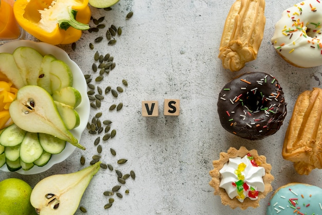 High angle view of tasty food showing healthy versus unhealthy concept