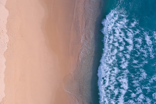 High angle view top view beautiful beach sea sand and seawater wave