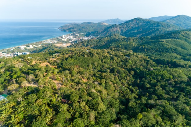 High angle view of tropical rainforest in phuket thailand image by drone shot.