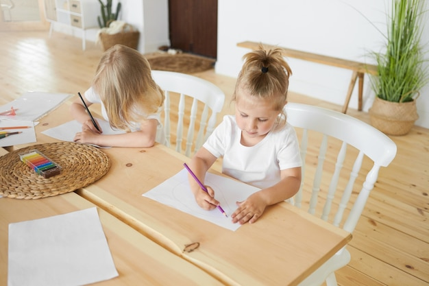 High angle view of two siblings little girl and elder brother sitting together at dining wooden table drawing images on white sheets of paper, using colorful pencils. childhood and creativity concept