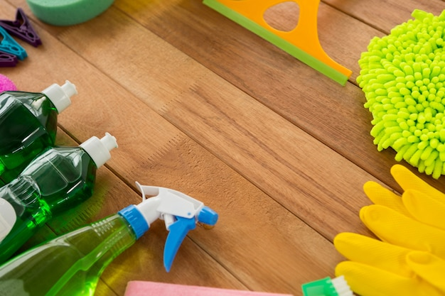 High angle view of various cleaning products