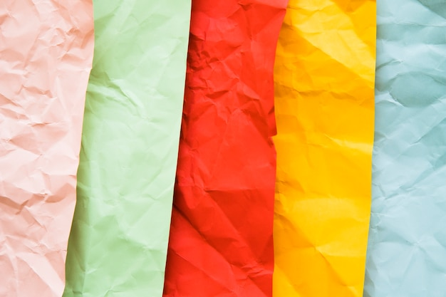 High angle view of various colorful crumpled papers