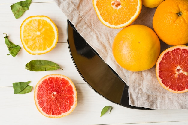 High angle view of view of oranges and grapefruits