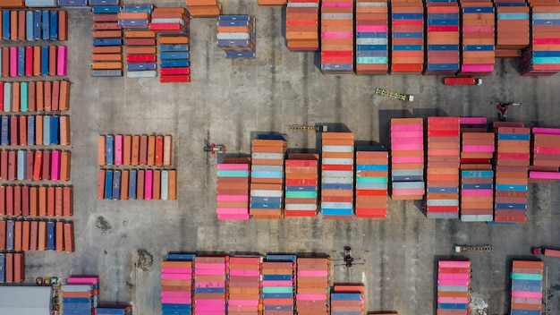 High angle view warehouse containers, aerial view
