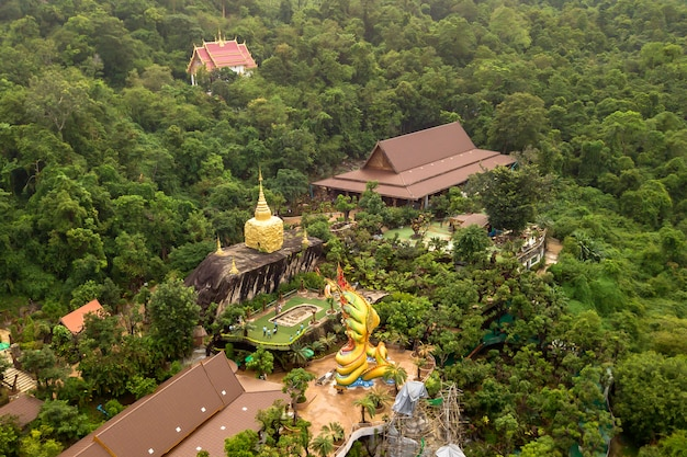 High angle view wat tham pha daen temple is a beautiful temple located on the side of phu phan mountain in province sakon nakhon; thailand.