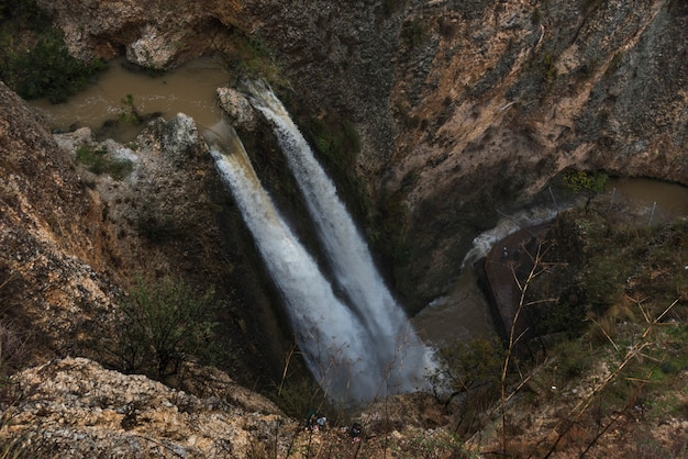 High angle view of waterfall in forest, tahana waterfall, nahal ayoun nature reserve, metula, northe