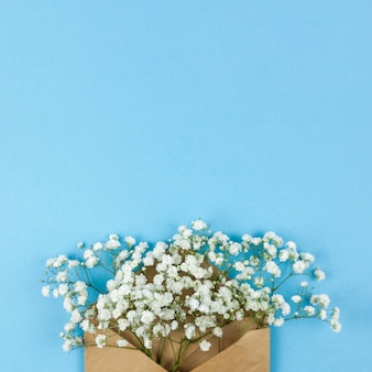 High angle view of white baby's breath flowers with brown envelop against blue background