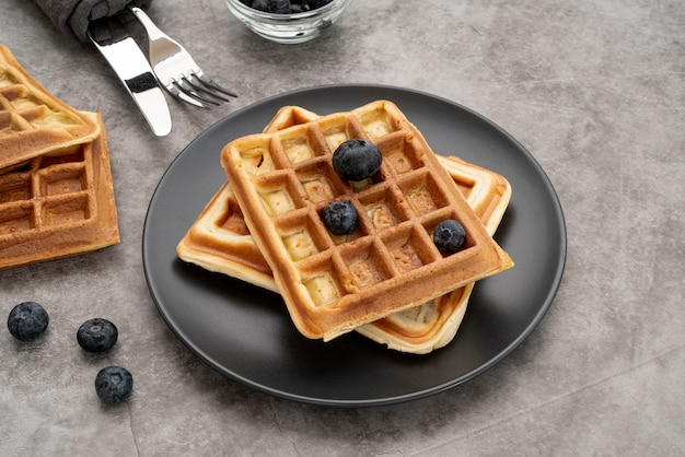 High angle of waffles on plate with blueberries