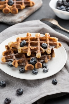 High angle waffles with blueberries