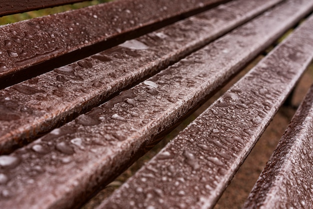 High angle of water drops on bench