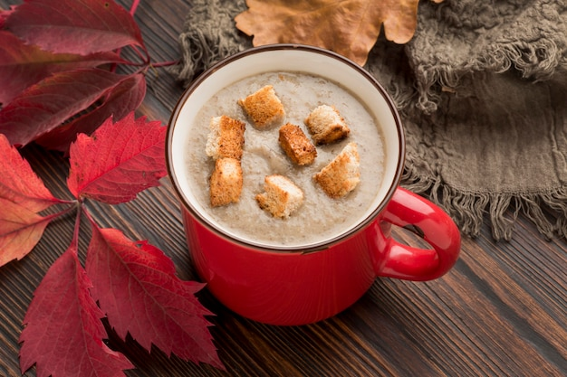 High angle of winter mushroom soup with croutons