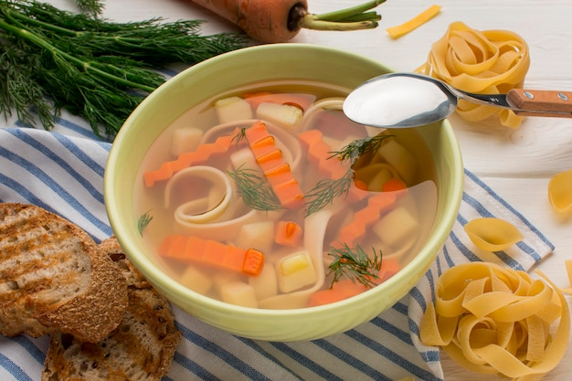 High angle of winter vegetables soup in bowl with spoon and toast