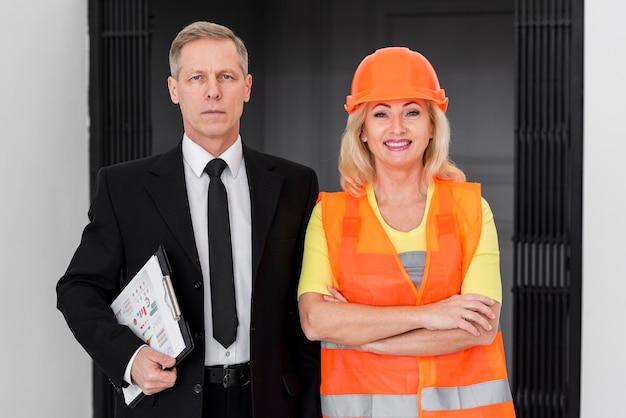 High angle woman and man working