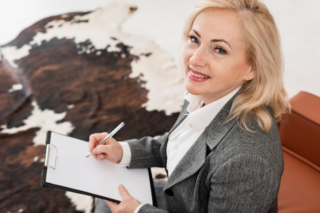 High angle woman at office