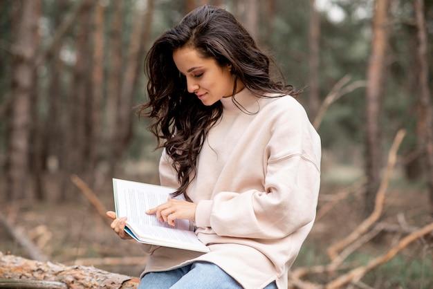High angle woman reading