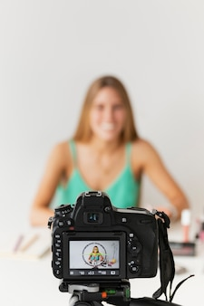 High angle woman recording tutorials