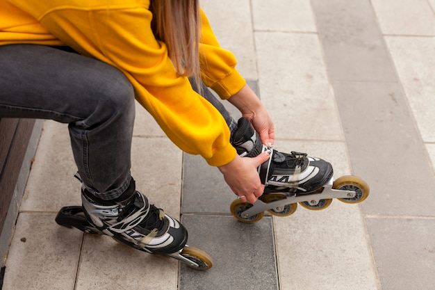 High angle of woman with roller blades