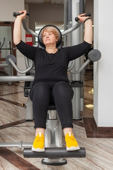 High angle woman working out
