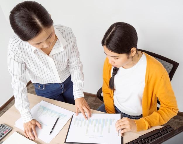 Женщины под большим углом думают о новых идеях для рабочего проекта
