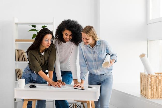 High angle womens team meeting