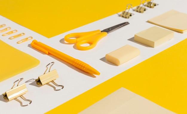 High angle yellow items arrangement