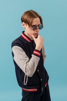High angle young boywith sunglasses