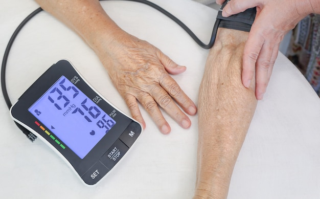 High blood pressure of elderly woman