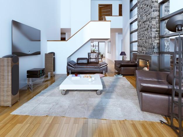 Гостиная с высокими потолками и камином.