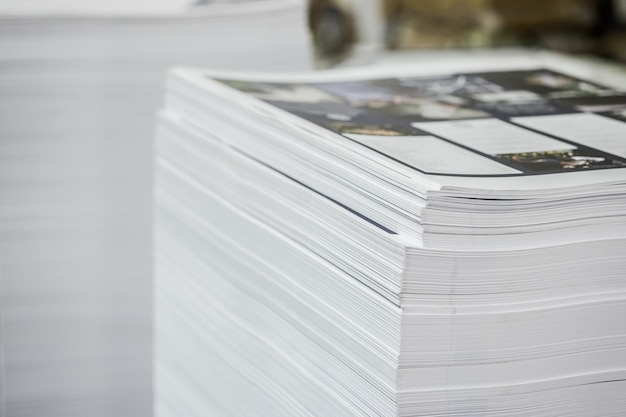 High contrast, printed paper stack industry offset sheets.